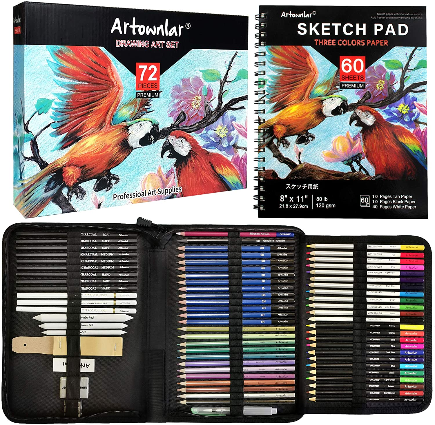 Artownlar Drawing Sketching Set 72 Pack with 3-Color Sketchbook| Pro Art Supplies Artist Coloring Kit for Adults, Kids, Teens|Graphite, Black White Charcoal, Colored, Eraser Pencil in Portable Case : Arts, Crafts & Sewing