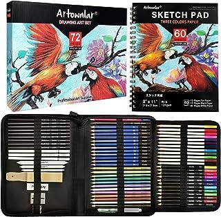 ست طراحی نقاشی بسته Artownlar 72 با کتاب طراحی 3 رنگ   کیت طرح و رنگ آمیزی مداد برای هنرمندان ، بزرگسالان ، کودکان ، مبتدیان   لوازم هنری با مداد رنگی گرافیت ، ذغال سنگ ، آبرنگ ، آبرنگ
