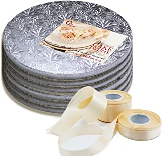 Cake Drums Round 10 Inches - Sturdy 1/2 Inch Thick - Professional Smooth Straight Edges - FREE Satin Cake Ribbon (Silver, 6-Pack)