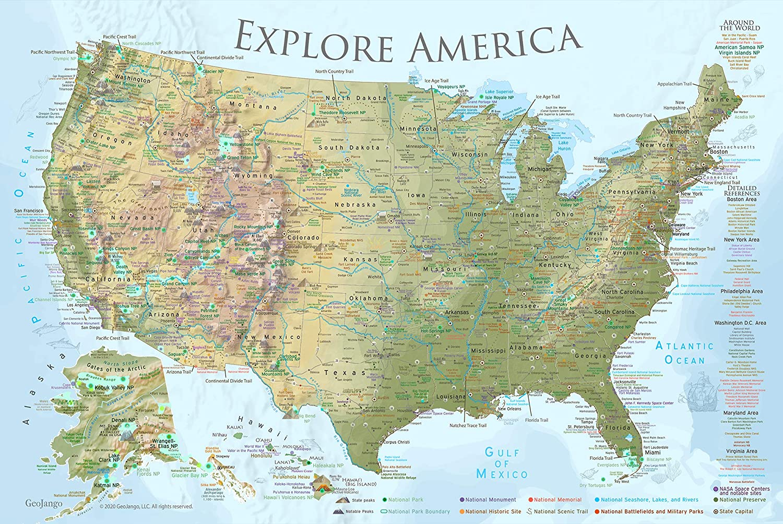 GEOJANGO National Parks Map Poster - x Denver Mall Edition 36W Terrain Under blast sales Lite