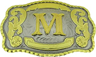 Initial Letters Western Style Cowboy Rodeo Gold Large Belt Buckles (Large Square, M Letter)