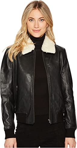 Burgess Sherpa Trim Leather Jacket