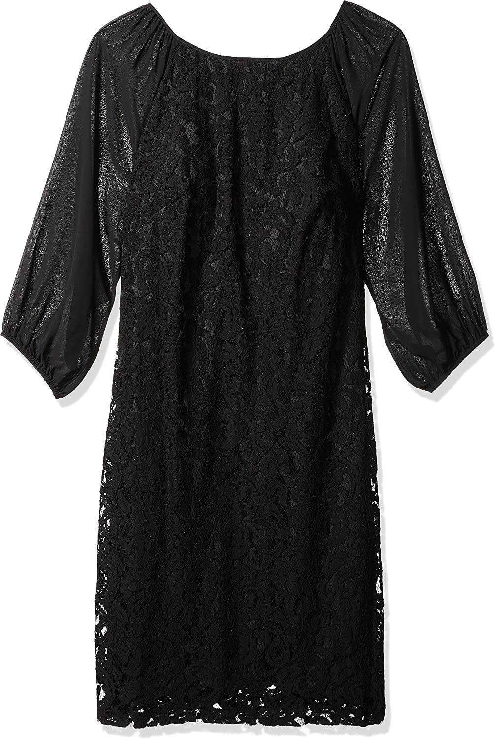 Adrianna Papell Womens Sheer Sleeve Lace Dress Plus Dress