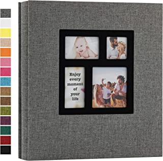 potricher Photo Album 4x6 600 Photos Linen Hardcover Large Capacity for Family Wedding Anniversary Baby Vacation (Grey, 600 Pockets)
