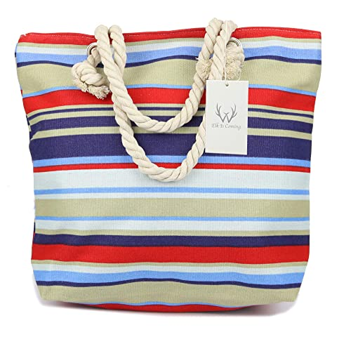 56646d4b18 ElkIsComing Beach bag Large Summer Canvas Tote Bags Shoulder Bag Holiday  Shopping Bag for Women Ladies