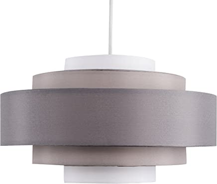 Modern 5 Tier Cylinder Ceiling Pendant Light Shade in a 3 Tone Grey Finish