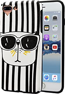 AlphaCell Designer Case compatible with iPhone 7 Plus/8 Plus Case | Sleek Black & White Charlotte Kinetic Striped (Artsy Lovely Cute Cat Sunglasses) | Slim Protective Soft Silicone Cover | Snug Fit