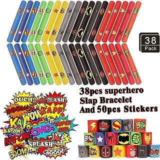 دستبند سیلیکون 38PCS Superhero - دستبند سیلی دیوانه Avengers برای کودکان و نوجوانان پس زمینه تولد لوازم جانبی - کارت پستال های مخصوص کارتون Superhero (50 بسته) جوایز کارناوال
