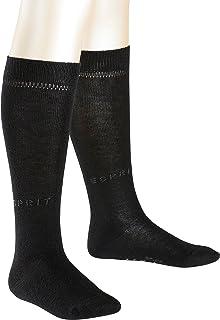 ESPRIT KIDS, Foot Logo Knee-hights 2p Calcetines, Niños, Negro (Black 3000), 3-4 años (Talla del Fabricante: 23-26)