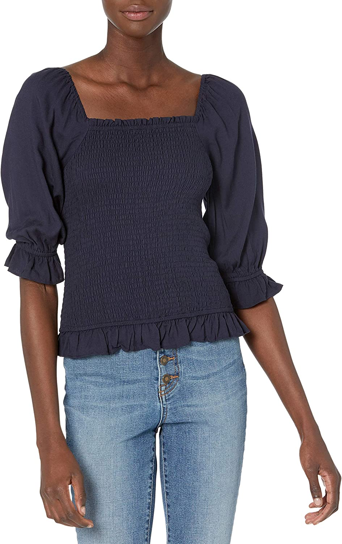 Amazon Brand - Goodthreads Women's Fluid Twill Slim Fit Puff Sleeve Square Neck Crop Shirt