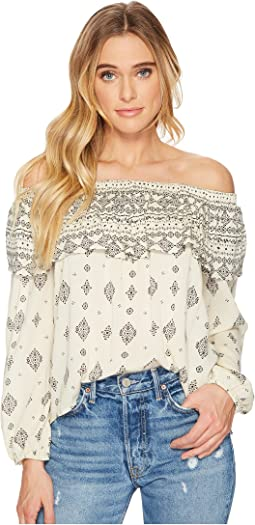 Jack by BB Dakota Bernadine Mixed Print Crinkle Viscose Off Shoulder Top