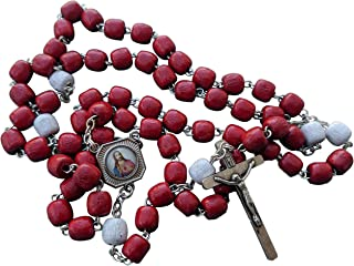 MedjugorjeOnlineShop Precious Blood of Jesus Rosary Red Wooden Wood 7 mm Beads 20 inches + Gift Bag