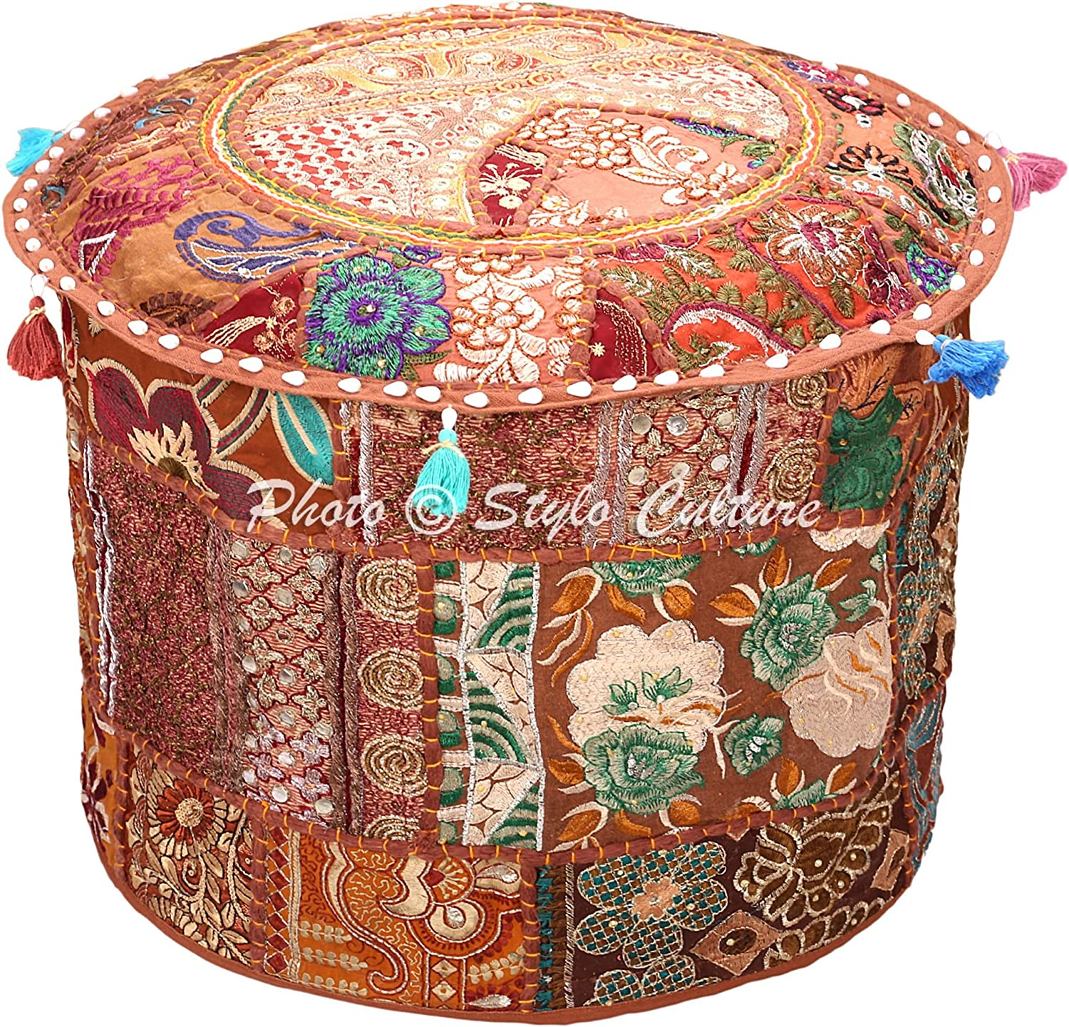 Stylo Culture Mail order Ethnic Surprise price Patchwork Ottoman Embroide Round Pouf Cover