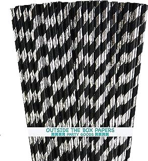شفاطات ورقية من الفويل الأسود والفضي - مخطط - 7. 75 بوصة - 100 حزمة خارج الصندوق العلامة التجارية الورقية