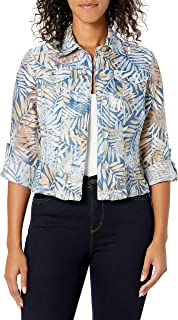 Ruby Rd. Women's Plus Size Button-Front Tropical Palms Printed Crinkle Burnout Shirt Jacket