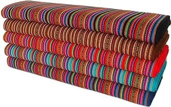 Teal Aguayo Manta Tribal Fabric Hand Loomed Peru Ethnic per Yard Dbl Wide