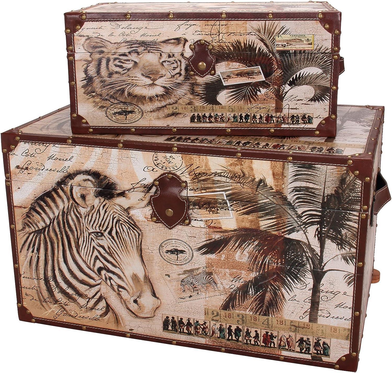 Household Essentials Animal Kingdom Storage Trunks (Set of 2), Jumbo Medium, Brown