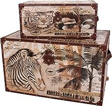 Household Essentials Animal Kingdom Storage Trunks (Set of 2), Jumbo/Medium, Brown