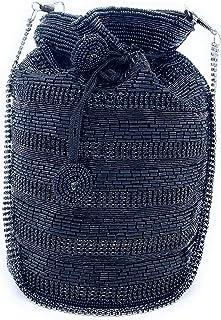 WOMEN'S DESIGNER ELEGANT ROYAL HANDMADE POTLI BAG/HANDBAG/PURSE/CLUTCH BAG ADORA ACI 082 BLACK