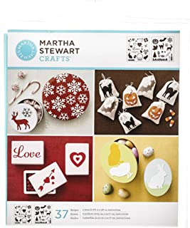 Martha Stewart Crafts Medium Stencils (8.75 by 9.75-Inch), 32260 Holiday Icons (2 Sheets with 37 Designs)