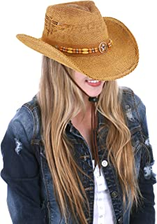 RufnTop Men s   Women s Western Vintage Style Cowboy Cowgirl Straw Hat ... 1fc69e2ca99b