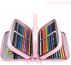 YOUSHARES 72 Slots Pencil Case - Handy Large Capacity Oxford Multi-Layer Zipper Pencil Bag for Color Pen, Colored Pencils, Watercolor Pens, Makeup Brush, Cosmetic Brushes, Gel Pen, etc (Light Pink)