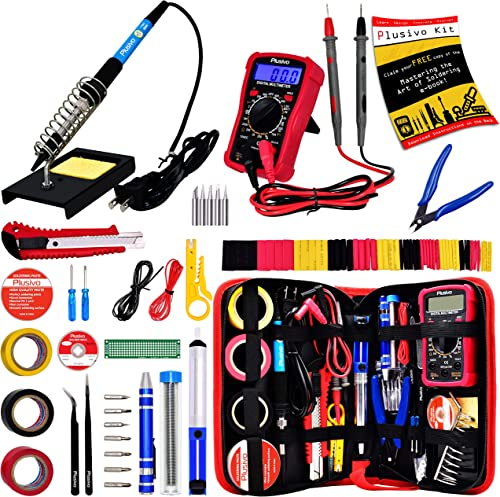 Soldering Iron Kit - Soldering Iron 60 W Adjustable Temperature, Digital Multimeter, Stand, Soldering Iron Tip Set, D...