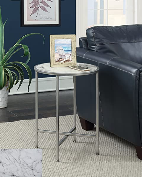 Convenience Concepts 413455S Gold Coast Faux Marble Round End Table Silver