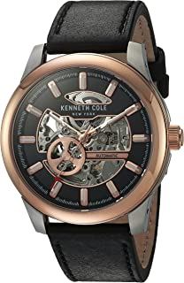 Men's Japanese Automatic Stainless Steel and Leather Dress Watch