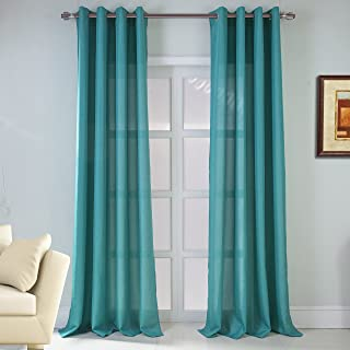 RT Designers Collection Asbury Jacquard Grommet Single Curtain Panel, 54 x 90, Teal