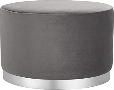 BIRDROCK HOME Round Grey Velvet Ottoman Foot Stool – Soft Large Padded Stool – Silver Trim - Coffee Table - Great for The Living Room or Bedroom – Decorative Furniture – Foot Rest