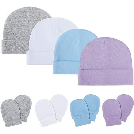 ISIYINER Conjunto de Sombreros Manoplas Guantes de Algodón Gorros Beanie para Bebé Recién Nacidos Niños Niñas 0-6 Meses