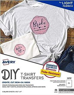 نقل تي شيرت Avery القابل للطباعة ، للاستخدام على الأقمشة الخفيفة ، طابعات نافثة للحبر ، 12 نقل ورق (3275)