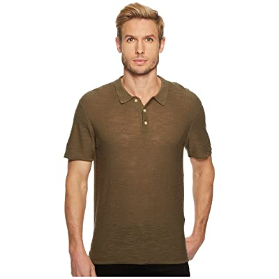 7 For All Mankind Short Sleeve Sweater Polo (Army) Men