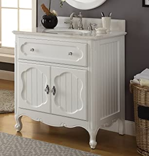 """34"""" Benton Collection Victorian Cottage Style Knoxville Bathroom sink vanity Model GD-1533WT"""