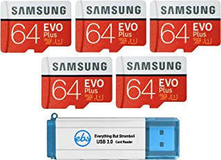 Samsung 64GB Evo Plus MicroSD Card (5 Pack) Class 10 SDXC Memory Card with Adapter (MB-MC64) Bundle with (1) Everything Bu...