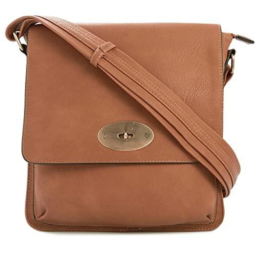 3a130330f0c2 Big Handbag Shop Vegan Leather Unisex Medium Twist Lock Cross Body  Messenger Bag