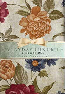 """Newbridge Nicolette Multicolor Floral Pattern Indoor/Outdoor Flannel Backed Vinyl Tablecloth - Waterproof and Stain Resistant Kitchen Tablecloth- 60"""" x 102"""" Oblong/Rectangle"""