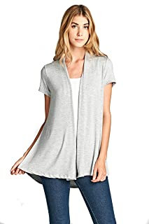 Women's Short Sleeve Extra Soft Bamboo Casual Lightweight Spring Cardigan - Made in USA