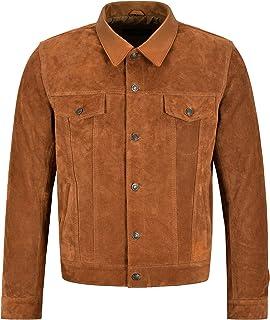 Men's Trucker Leather Jacket Tan Suede Classic Western Shirt Style Jacket 1275