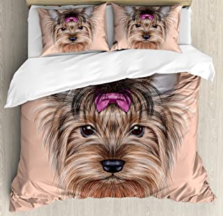 Ambesonne Yorkie Duvet Cover Set, Realistic Computer Drawn Image of Yorkshire Terrier with Ribbon Animal, Decorative 3 Piece Bedding Set with 2 Pillow Shams, Queen Size, Salmon Brown