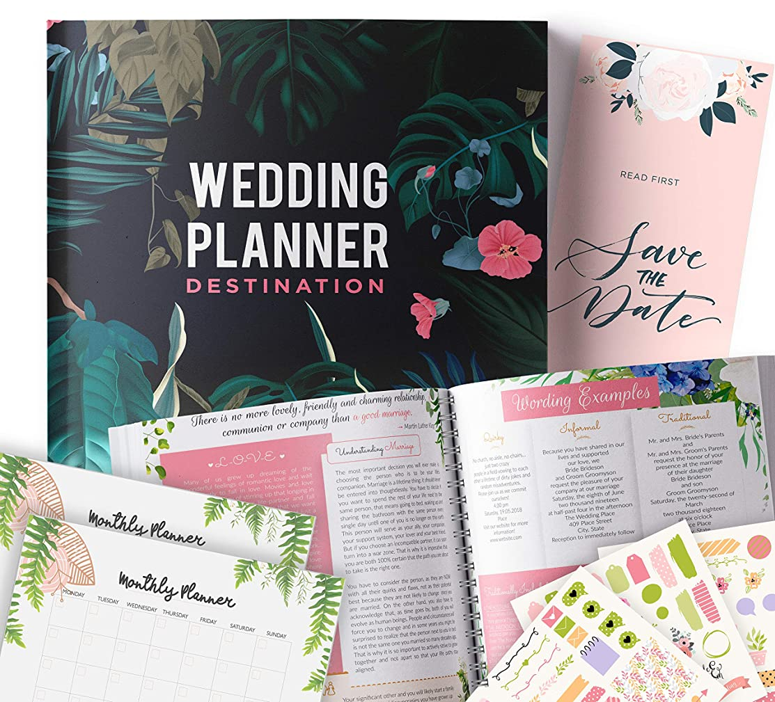 Destination Wedding Planner | Step-By-Step Binder to Organize Your Dream Day Using Stickers, Photos & Pictures | Journal For Organizing a Wedding by Yourself | Gift for Brides |