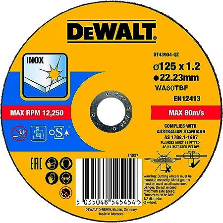 DEWALT DT43904-QZ Disque à tronçonner l'inox 125x22,2mm, épaisseur 1.2mm, moyeu plat