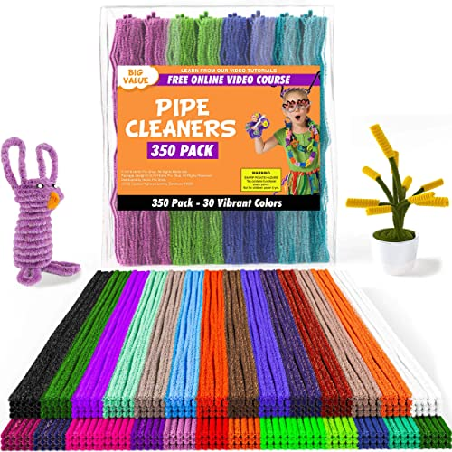 Pipe Cleaners - 350 pcs Chenille Stems for DIY Art, 30 Assorted Colors Pipe Cleaners for Decorations and Creative Cra...