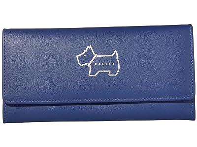 Radley London Heritage Dog Outline Large Flapover Matinee (Sapphire) Wallet Handbags