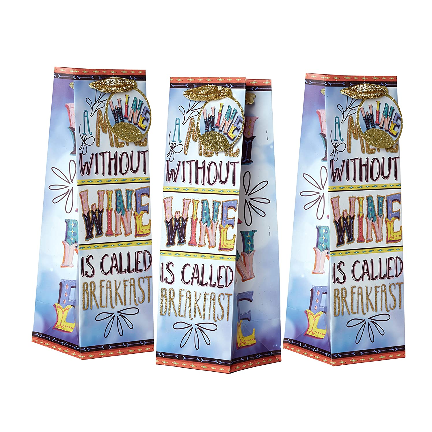 Jillson Roberts Bulk 120-Count Humorous Wine and Bottle Gift Bags Available in 4 Different Designs, A Meal Without Wine is Called Breakfast