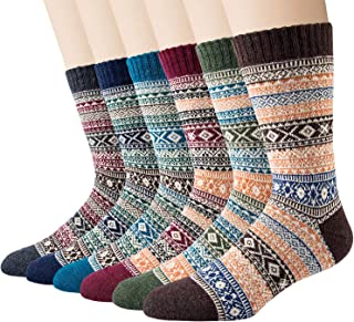 6/5 Pairs Mens Wool Socks, Thick Warm Breathable Crew Socks for Winter