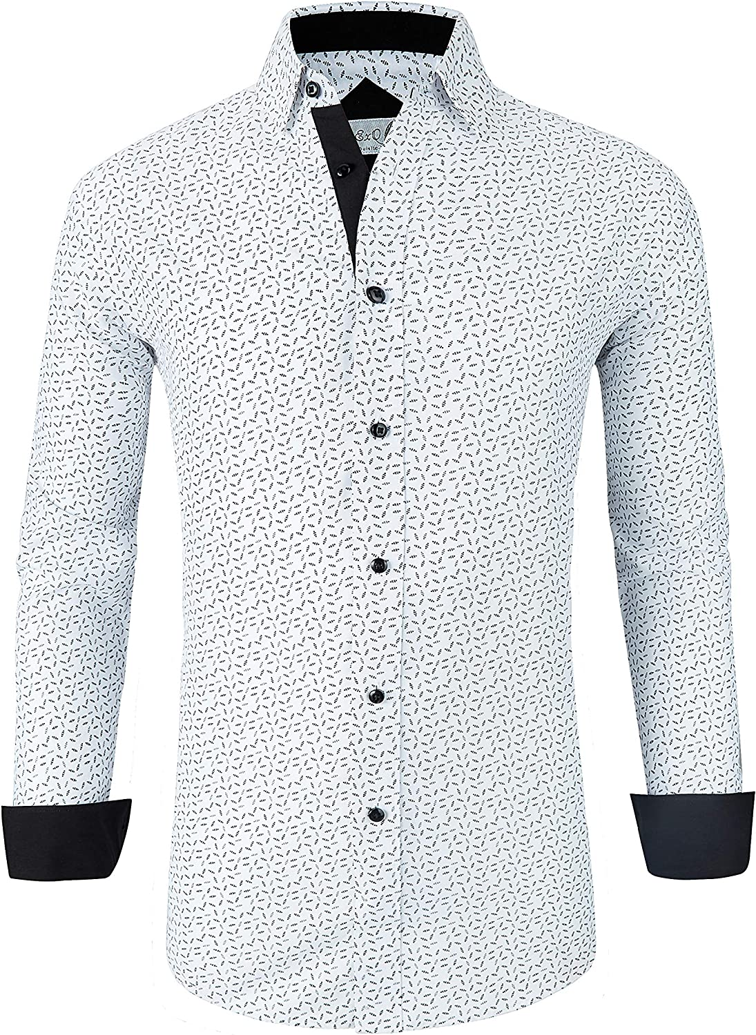 ExQuisite.ZFZ Mens Printed Dress Shirts Wrinkle Free Long Sleeve Regular Fit Casual Button Down Shirt