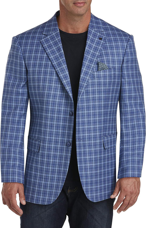 Oak Hill by DXL Big and Tall Multi Mini Check Sport Coat, Blue