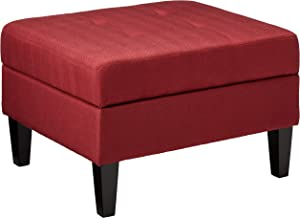 Christopher Knight Home Evern Buttoned Deep Red Fabric Storage Ottoman